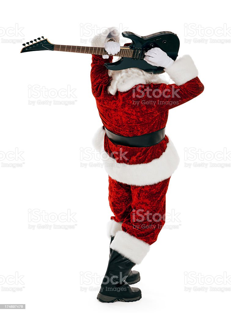 Electric Guitar Playing Santa Claus on White royalty-free stock photo
