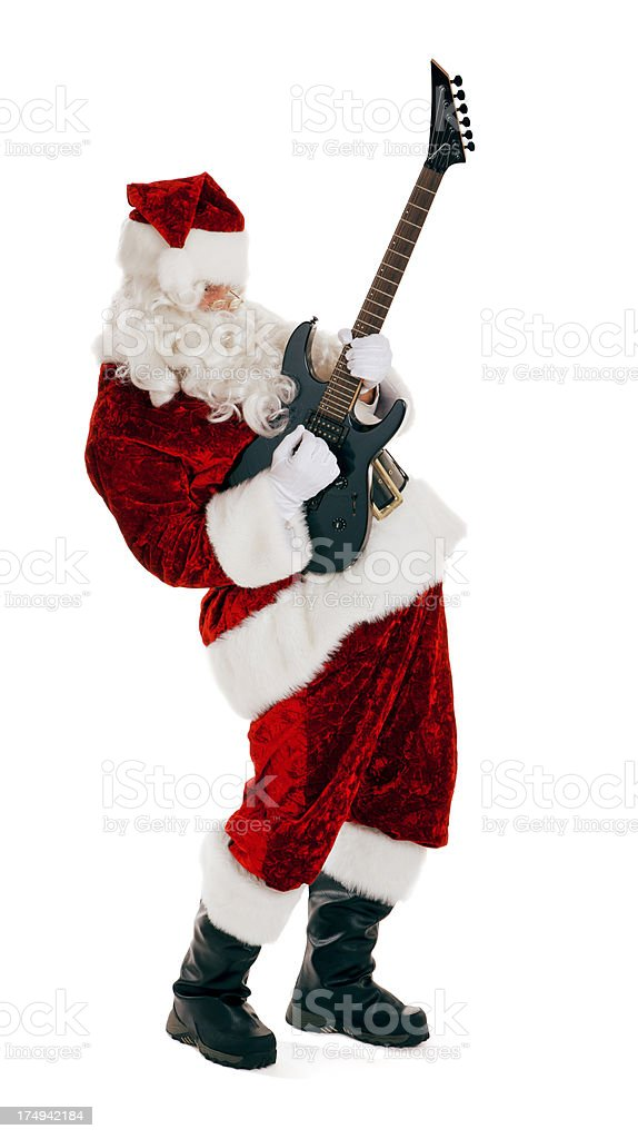Electric Guitar Playing Santa Claus on White royalty-free stock photo