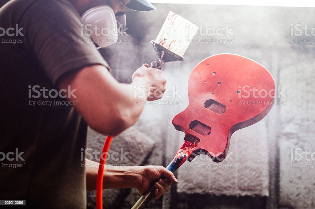 Electric Guitar Production Shop Start-Up stock photo