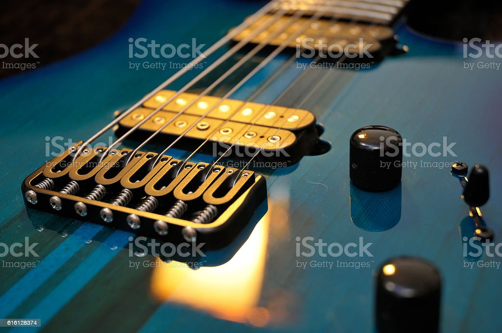 Electric Guitar Strings Up Close stock photo