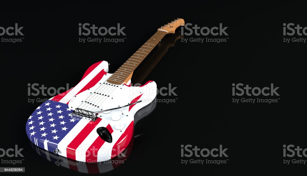 Electric guitar with USA flag paint finish stock photo