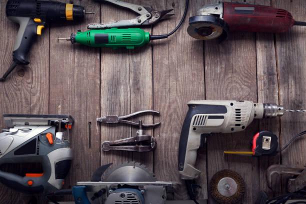 elektrisch handgereedschap - elektrisch gereedschap stockfoto's en -beelden