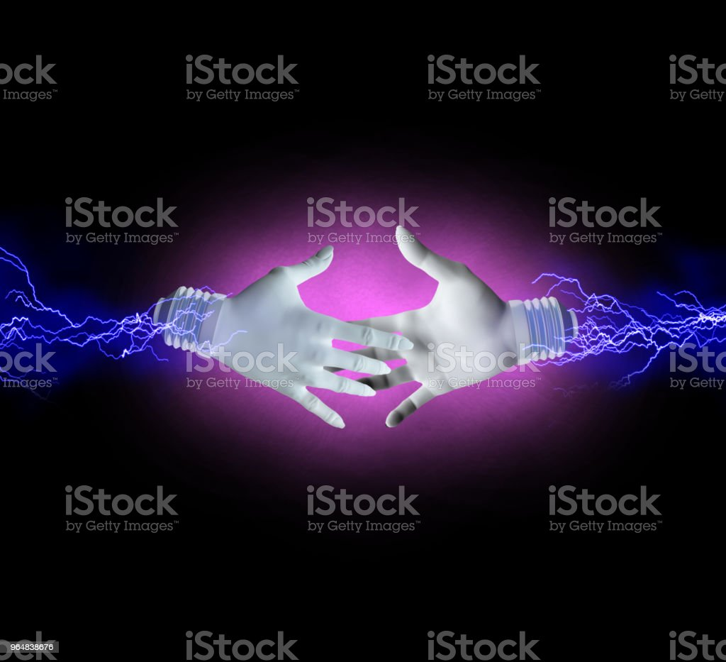 Electric handshake royalty-free stock photo