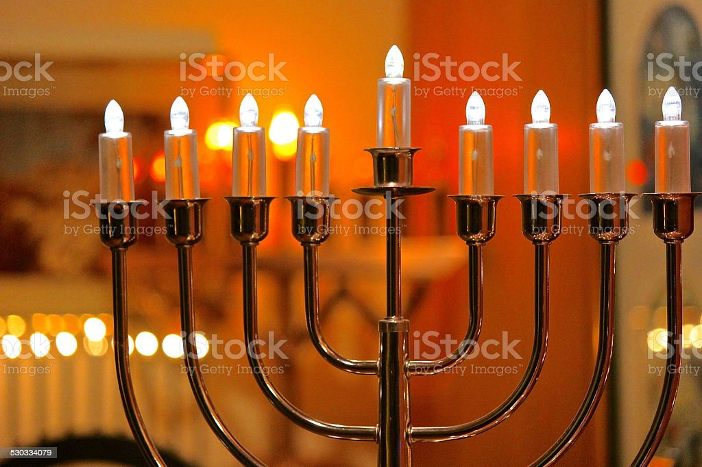 Electric Hanukkah - Festival of Lights menorah lights stock photo
