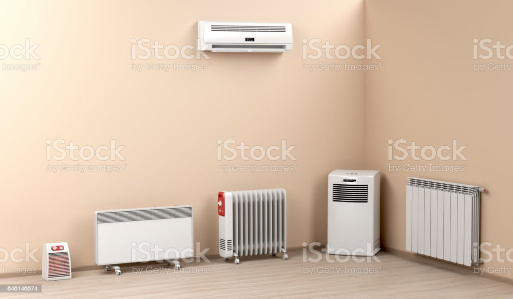 Electric heaters in the room stock photo
