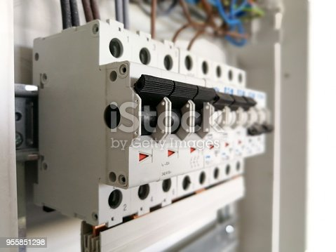 istock Electric installation inside switch board cabinet 955851298