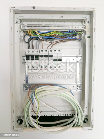 istock Electric installation inside switch board cabinet 955851338