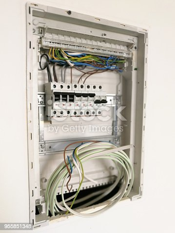 istock Electric installation inside switch board cabinet 955851348