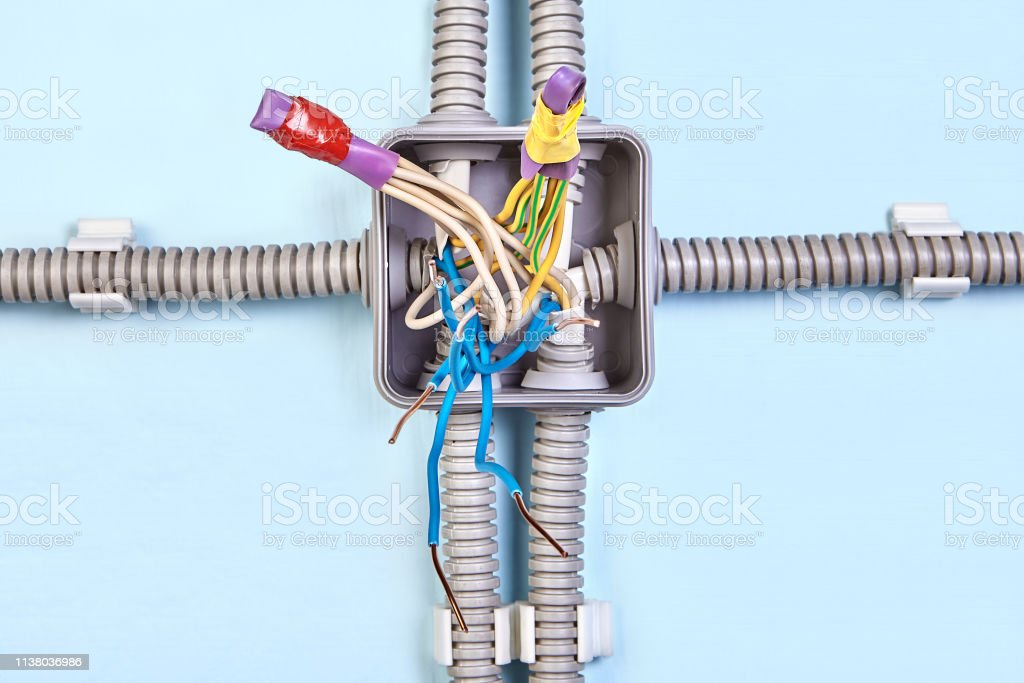 Electric Installation Work Diagram Of Junction Box Stock