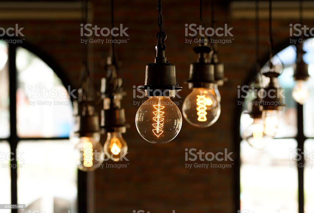 electric lamps stock photo