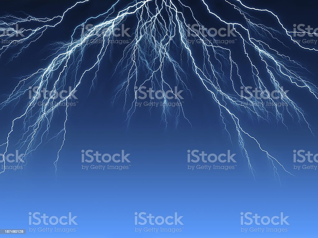 Electric lightning in the sky stock photo