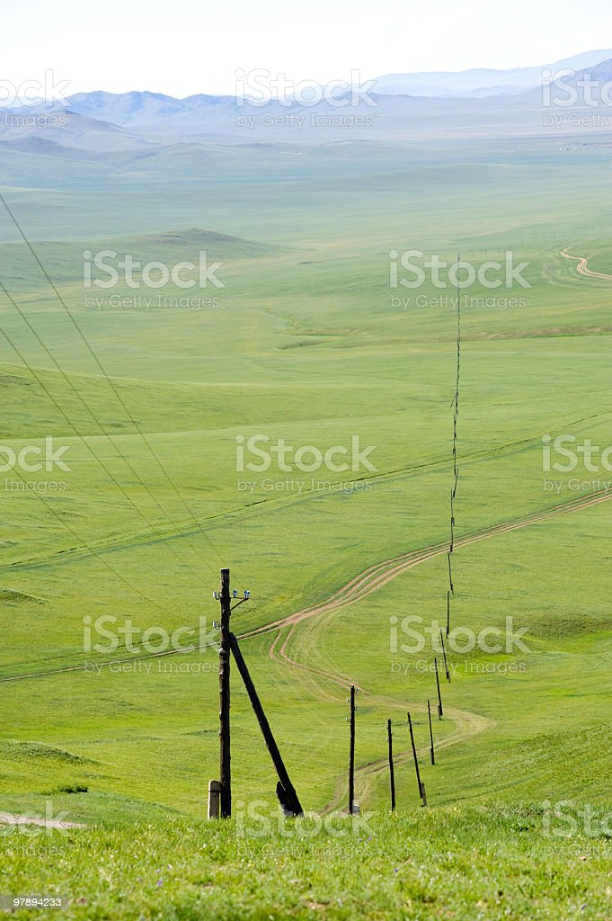 electric line receding into the distance royalty-free stock photo