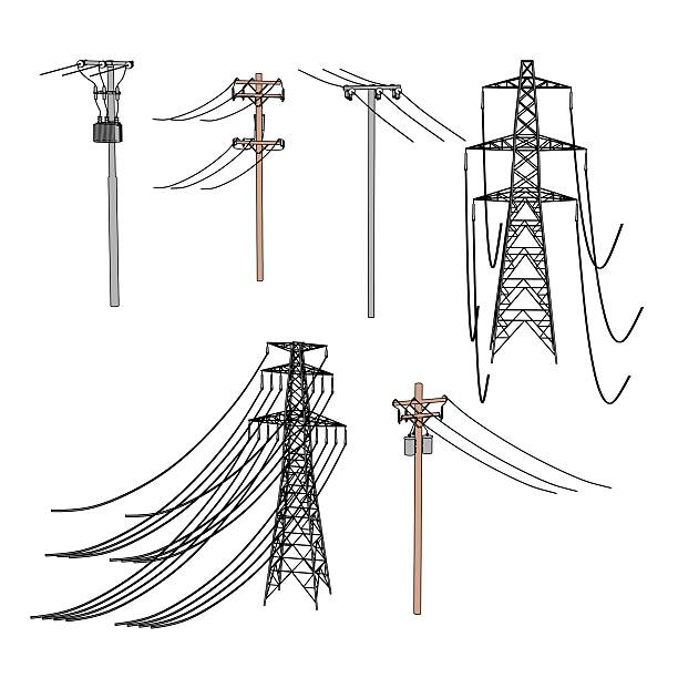 Best Cartoon Of A Power Transmission Line Stock Photos