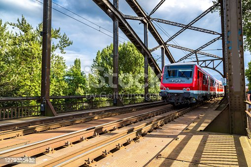 Electric locomotive in Frankfurt, Germany in a summer day