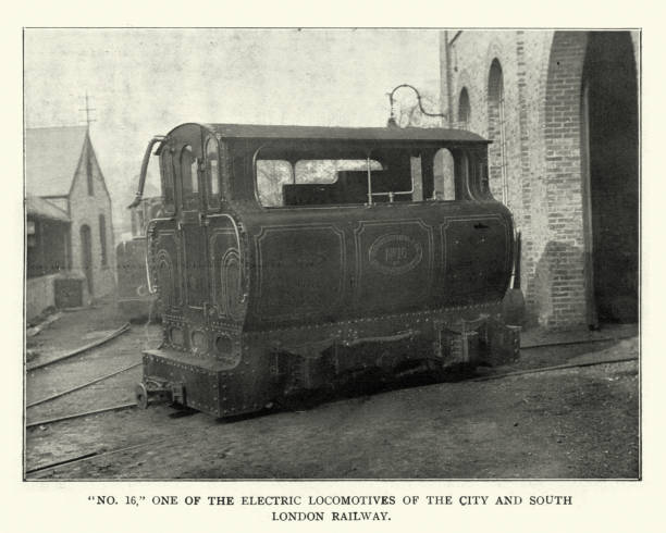 Electric locomotive of the City and South London Railway, 1899 Vintage photograph of Electric locomotive of the City and South London Railway, 1899 electric train stock pictures, royalty-free photos & images