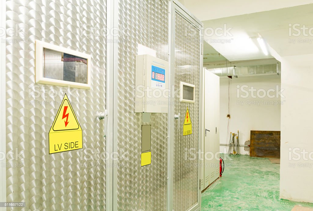 Electric measuring devices and switches are located on panels stock photo