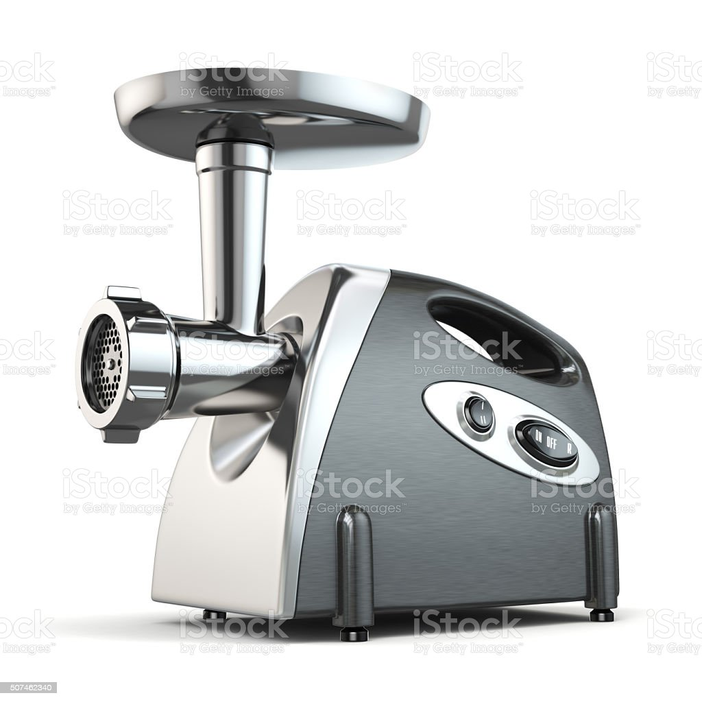 Electric meat grinder isolated on white. stock photo