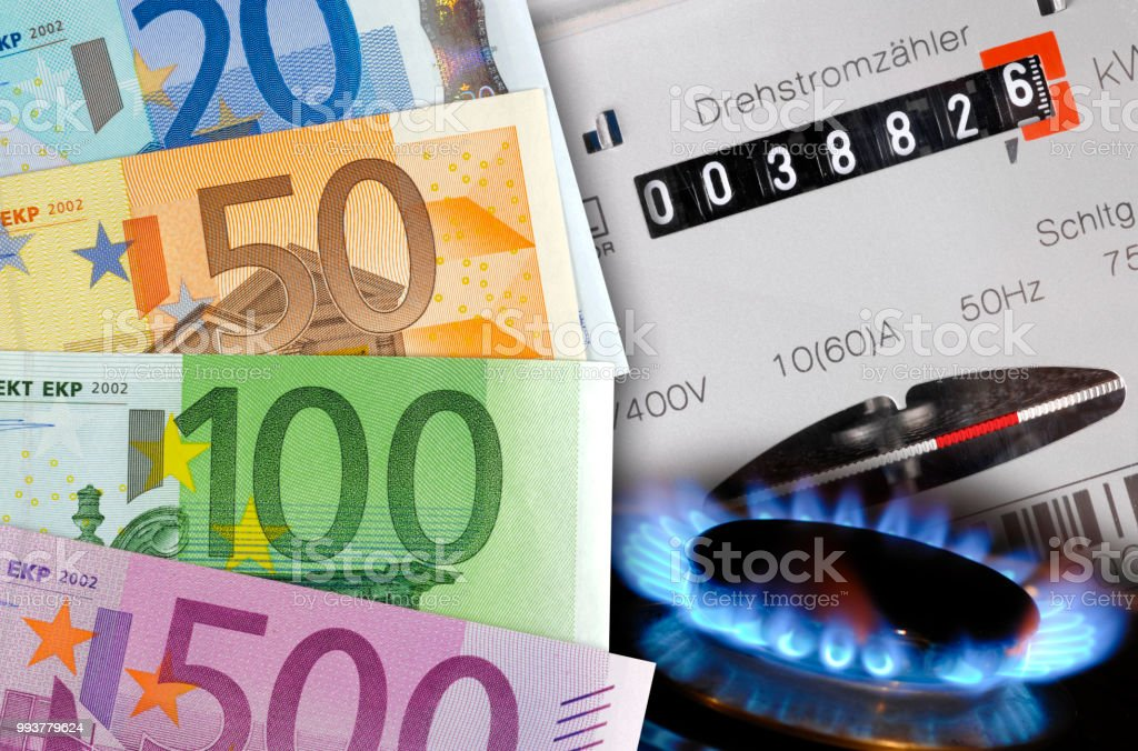 Electric Meter And Euro Banknotes As Symbol For High Energy Costs