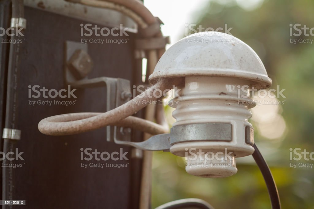 Electric meter and fuse tiles. stock photo