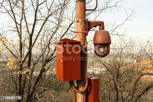 Electric meter box and camera in the park