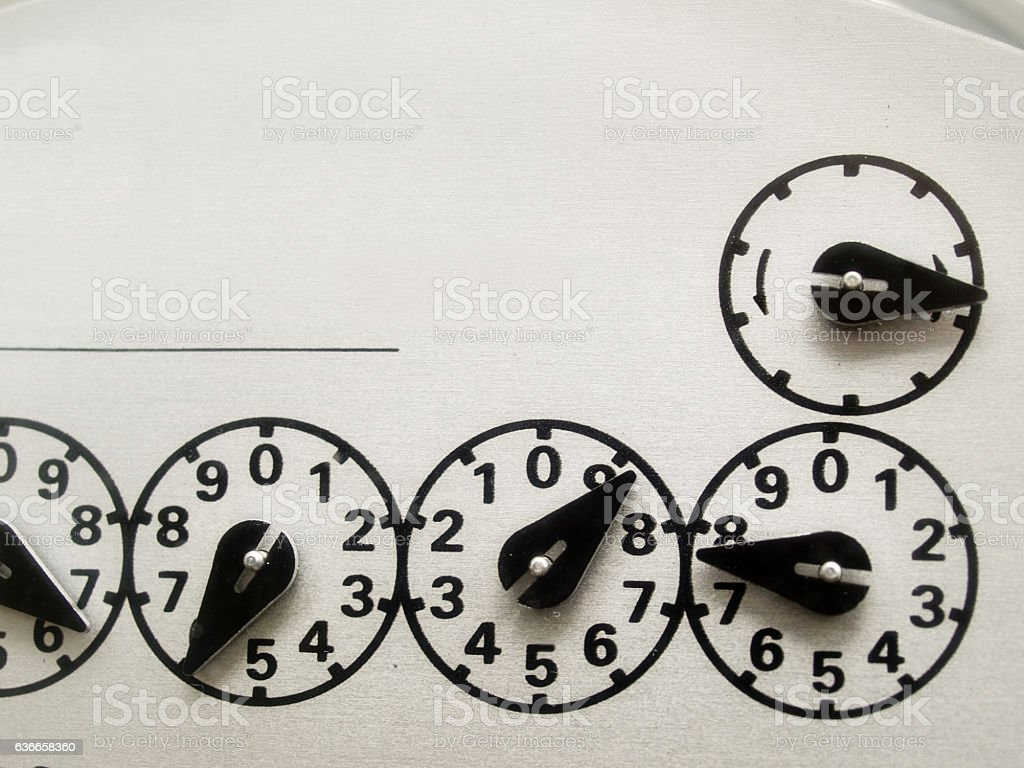 Electric meter dial details stock photo