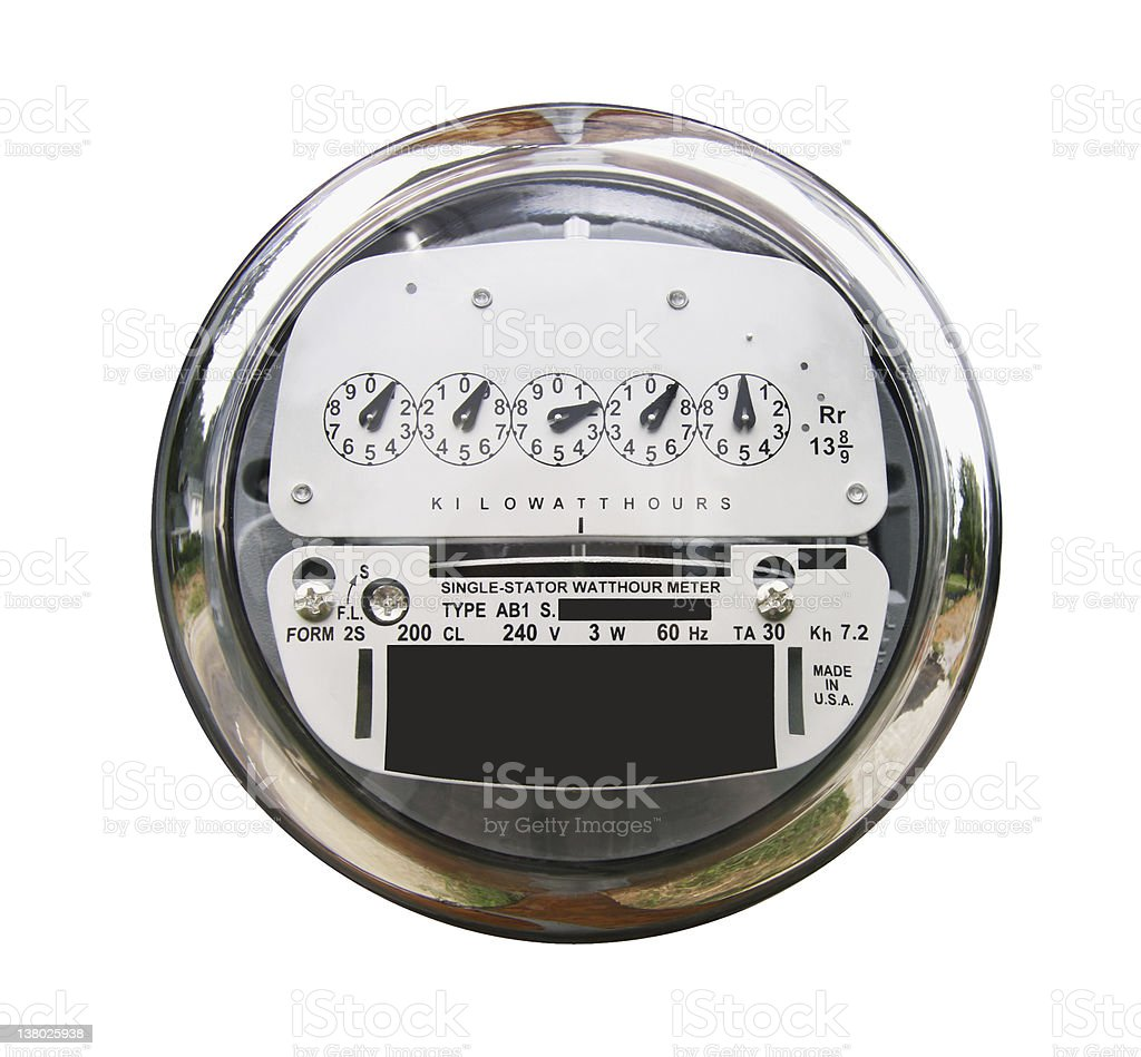 Electric Meter with clipping path stock photo