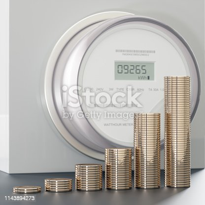 Electric Meter with money coin stack