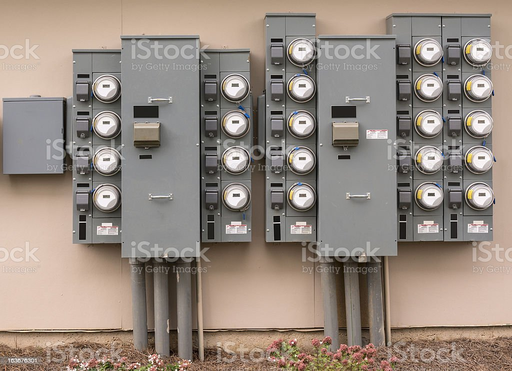 Electric Meters At An Apartment Complex stock photo