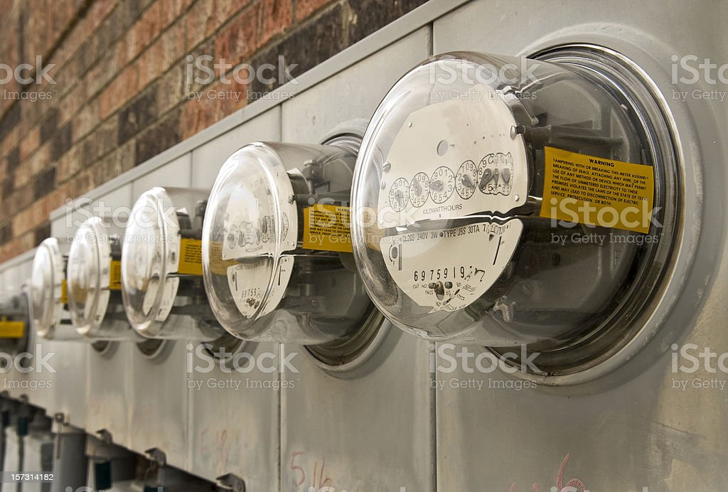 Electric meters for Multi-Family Apartment Building 2 royalty-free stock photo
