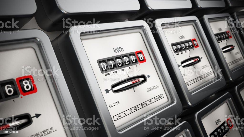 Stromzähler in einer Reihe stehend an der Wand – Foto