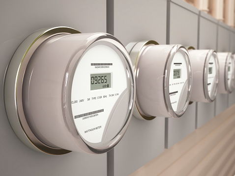 Electric Meters on residential and commercial buildings