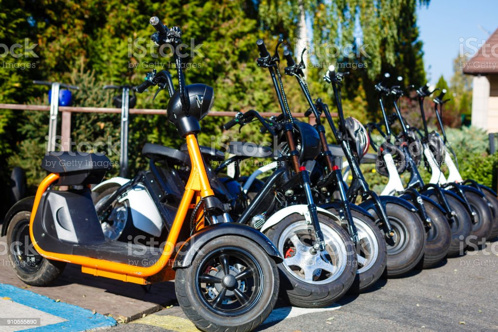 Electric mobility scooter details stock photo