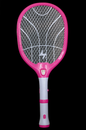 electric mosquito racket isolated on black