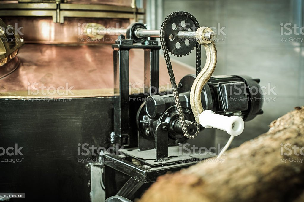 Electric motor at distillery stock photo