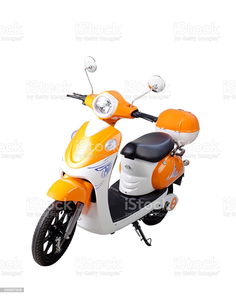 Electric motor bike isolated on white stock photo