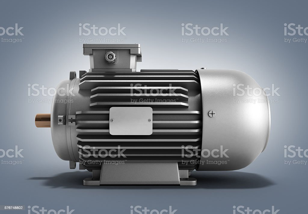 electric motor generator 3d render stock photo
