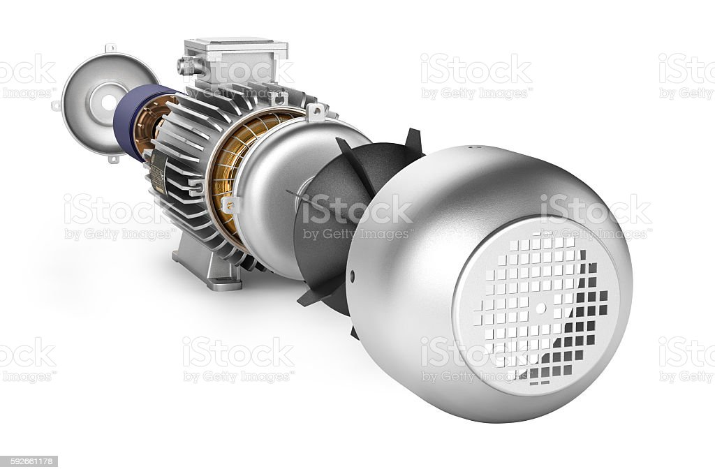 Electric motor in detail on white background 3d stock photo