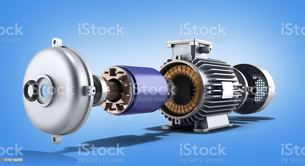 electric motor in disassembled state 3d illustration on a gradie stock photo