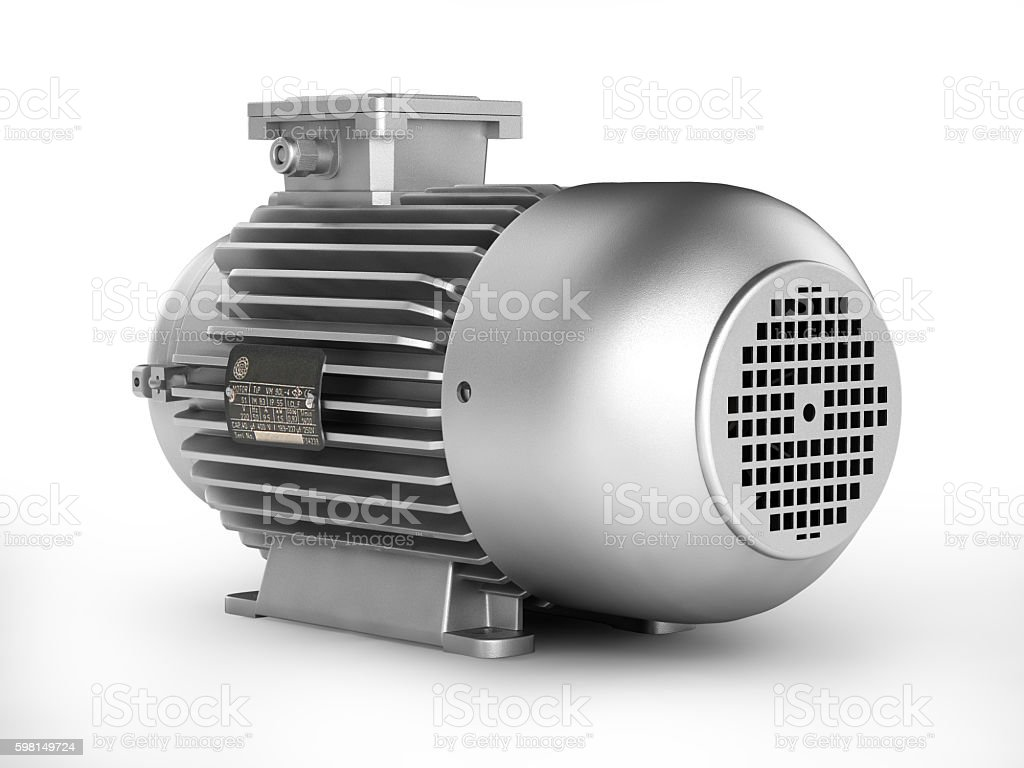 Electric motor isolated on white background 3d stock photo