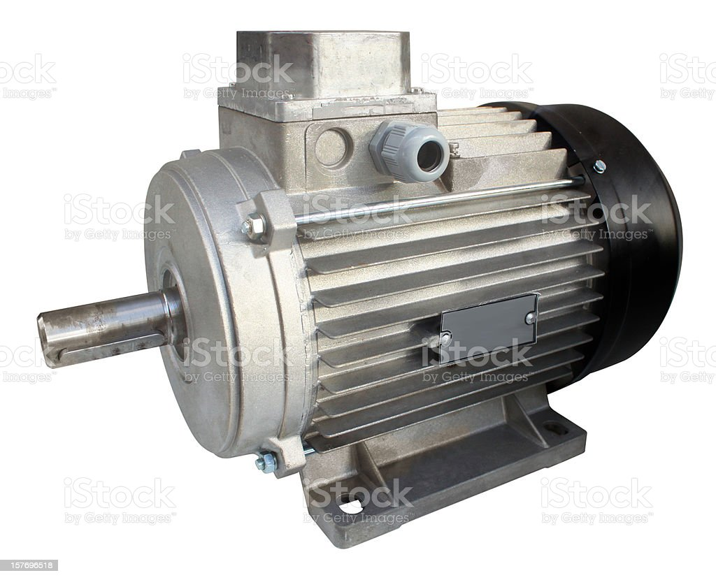 Electric motor on white background stock photo