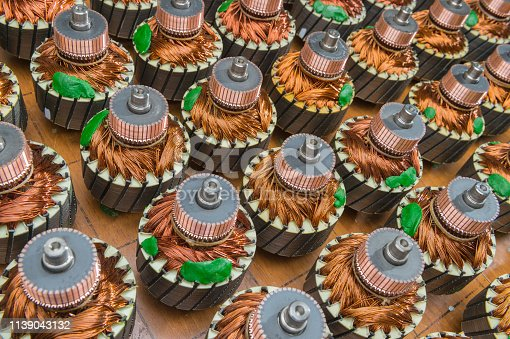 copper windings of electric motors