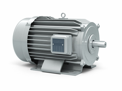 3d render Electric Motor gray (clipping path and isolated on white)