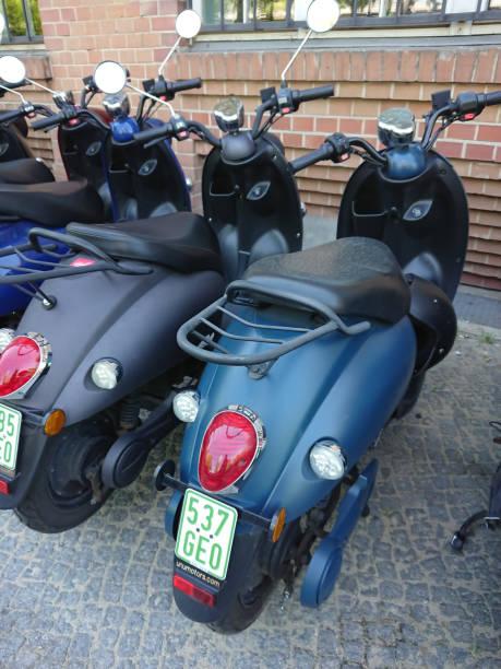 UNU electric motor scooters stock photo