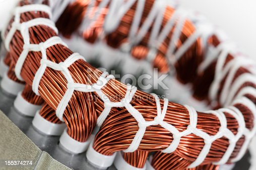 Electric Motor Stator Winding And Stack Closeup Stock