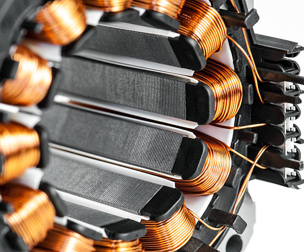 electric motor stator winding and stack close-up - elektrische motor stockfoto's en -beelden