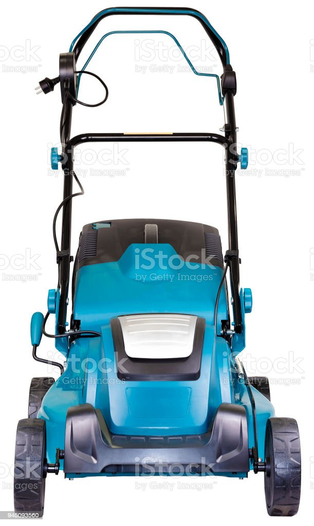 Electric mower isolated on white background, high resolution, facade view stock photo