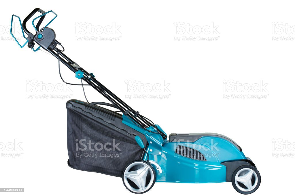 Electric mower isolated on white background, high resolution, profile view stock photo