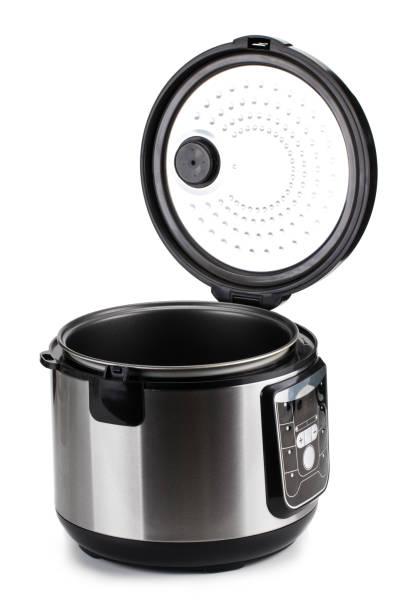 elektrische multi cooker isoliert auf weißem hintergrund - chrome menü stock-fotos und bilder
