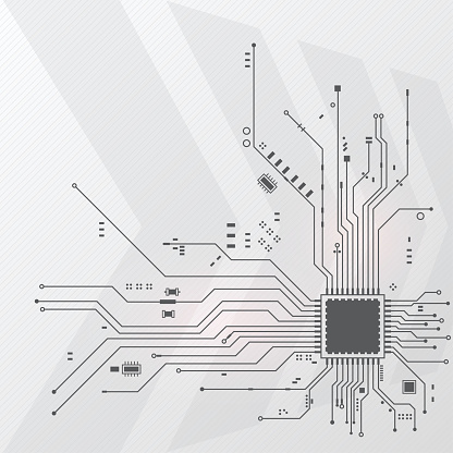 Vector and illustration abstract technology electric of high tech electronic circuit board on white background