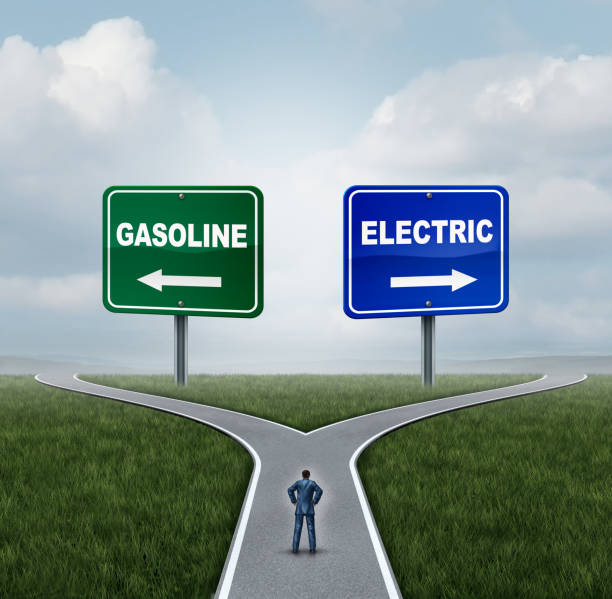 Electric Or Gasoline Concept Electric or gasoline energy choice concept as a confused person on a crossroad deciding between gas fuel power or battery power with 3D illustration elements. alternative fuel vehicle stock pictures, royalty-free photos & images